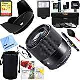 Sigma (302965) 30mm F1.4 DC DN Lens for Sony E Mount + 64GB Ultimate Filter & Flash Photography Bundle