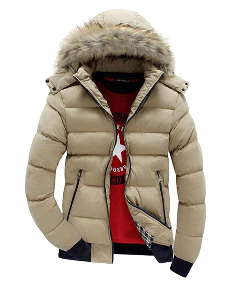 Lutratocro Men Overcoat Vogue Warm Fit Quilted Jacket Hooded Parkas Coats