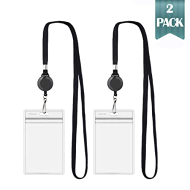2018 Updated CarryLuxe Lanyard with ID Holder Sets (Black,2 Pack)- Flat Polyester ID Lanyard with Retractable Badge Reel & Vinyl Name Badge Holder