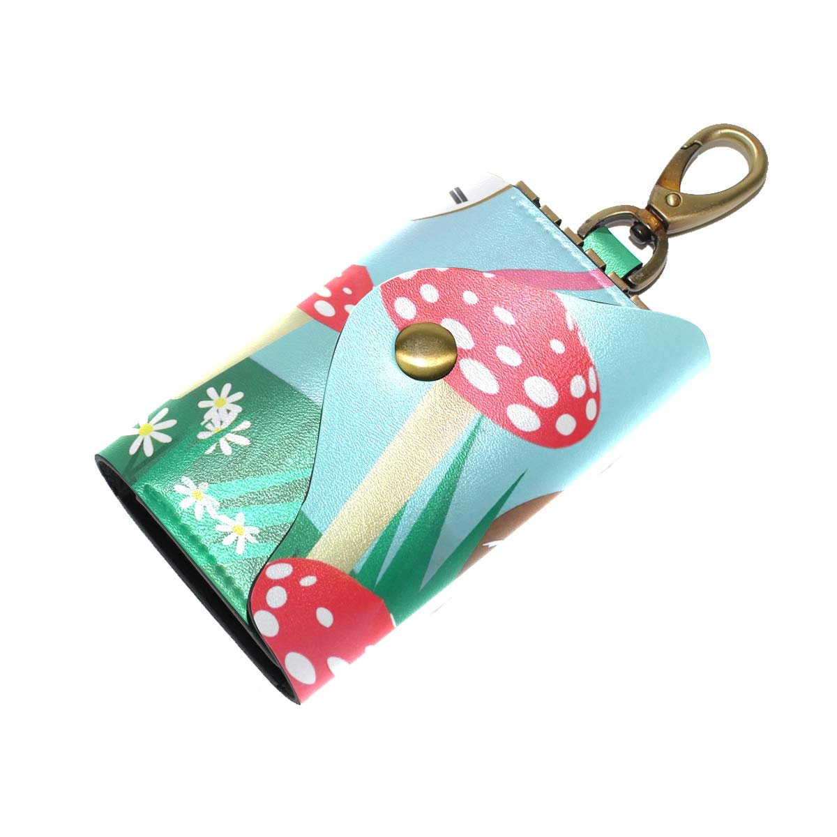 KEAKIA Cute Cartoon Leather Key Case Wallets Tri-fold Key Holder Keychains with 6 Hooks 2 Slot Snap Closure for Men Women
