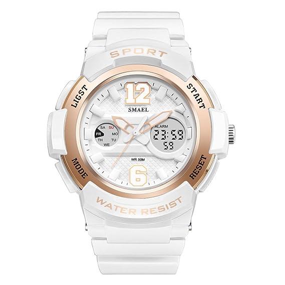 Señoras Casual Reloj Quartz Sport Relojes Impermeables Mujeres Blanco