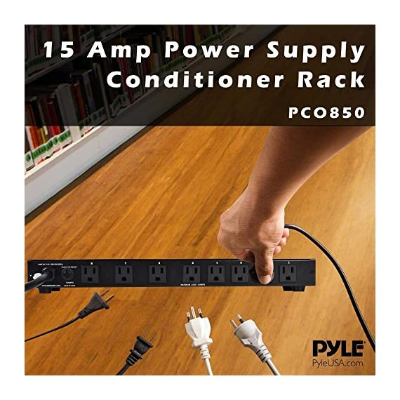 PDU Power Strip Surge Protector - 150 Joule 15 Amp 9 Outlet Strips Surge Protector Heavy Duty Electric Extension Cord Strip - 1U Rack Mount Protection Power Outlet Strip W/AC Filter - PylePro PCO850 4 RELIABLE SURGE PROTECTION: The power supply PDU surge protector strip features 150 joules energy dissipation and 1200 amp peak impulse current to protect your equipment when voltage fluctuates, swell, or spike during storms and power outages 9 OUTLET: Equipped w/ 8 rear and 1 front outlet so you can turn one outlet into nine w/ the surge protector power strip. Has a master power switch that you can use to completely shut off electronics when not in use for power/energy saving ELIMINATES RFI AND EMI: The built in ac noise filters get rid of unwanted radio frequency (RFI) and electromagnetic interference (EMI) to improve the stability of the equipment and prolong the service life of your electronics at home or office