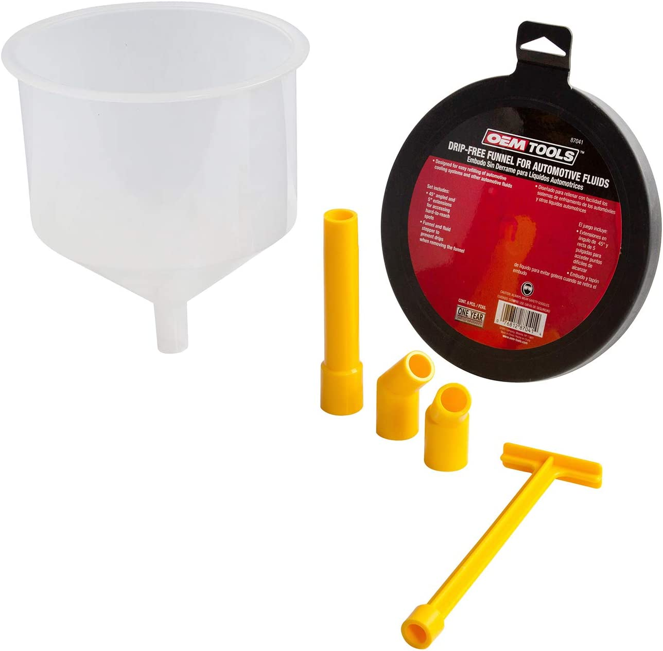 OEM TOOLS 87041 No-Spill Automotive Fluid Filling Funnel Kit, 6 Piece | Mess-Free Design | Includes Stopper, (2) 45 Degree Angled Elbows, and a 5 Inch Extension | Professional Mechanic Tool