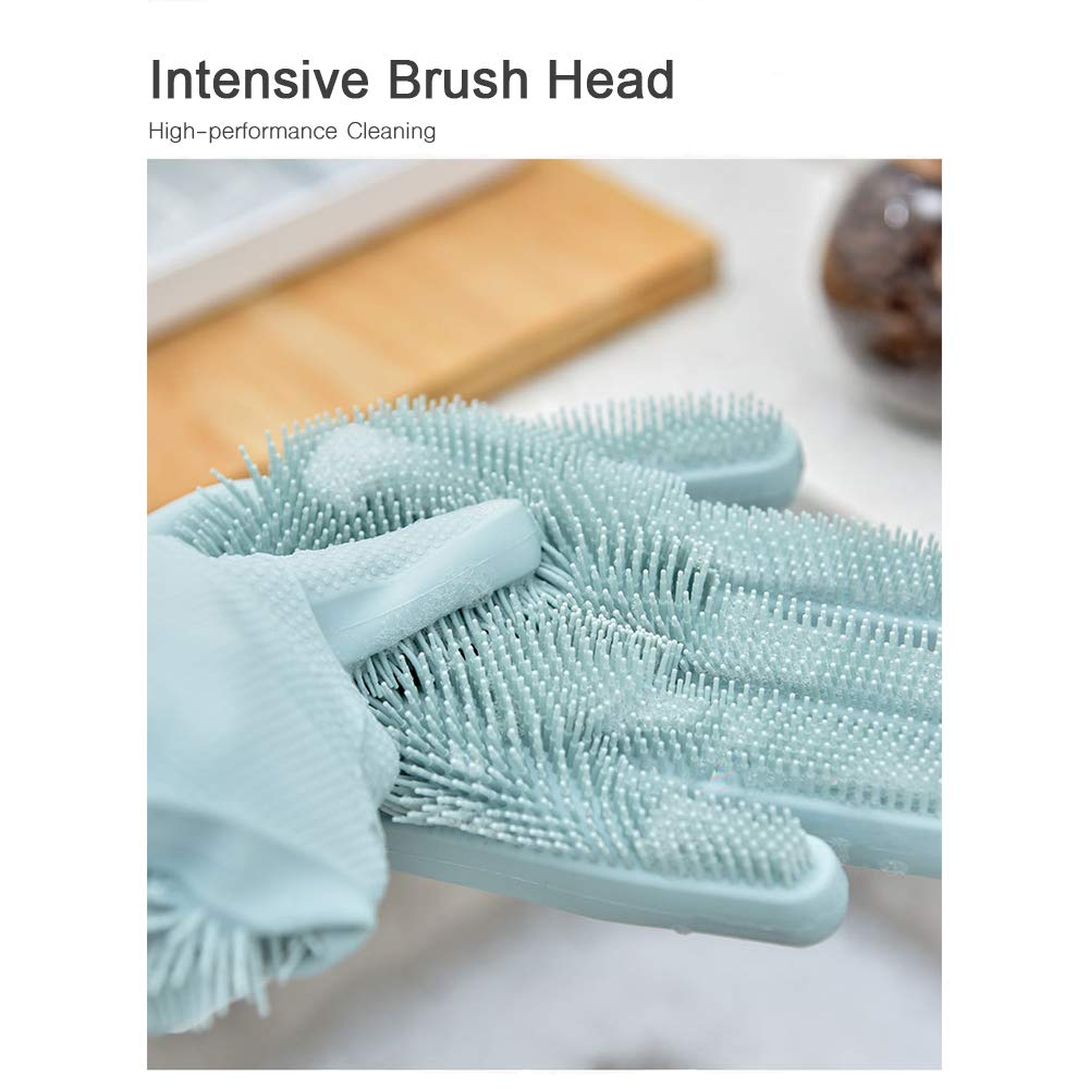 Pet Hair Care Silicone Dish Sponge Vegetable Heat Resistant Kitchen Tool for Fruit Reusable Eco-friendly Cleaning Brush Green Dish Washing Nedway Magic Silicone Gloves with Wash Scrubber