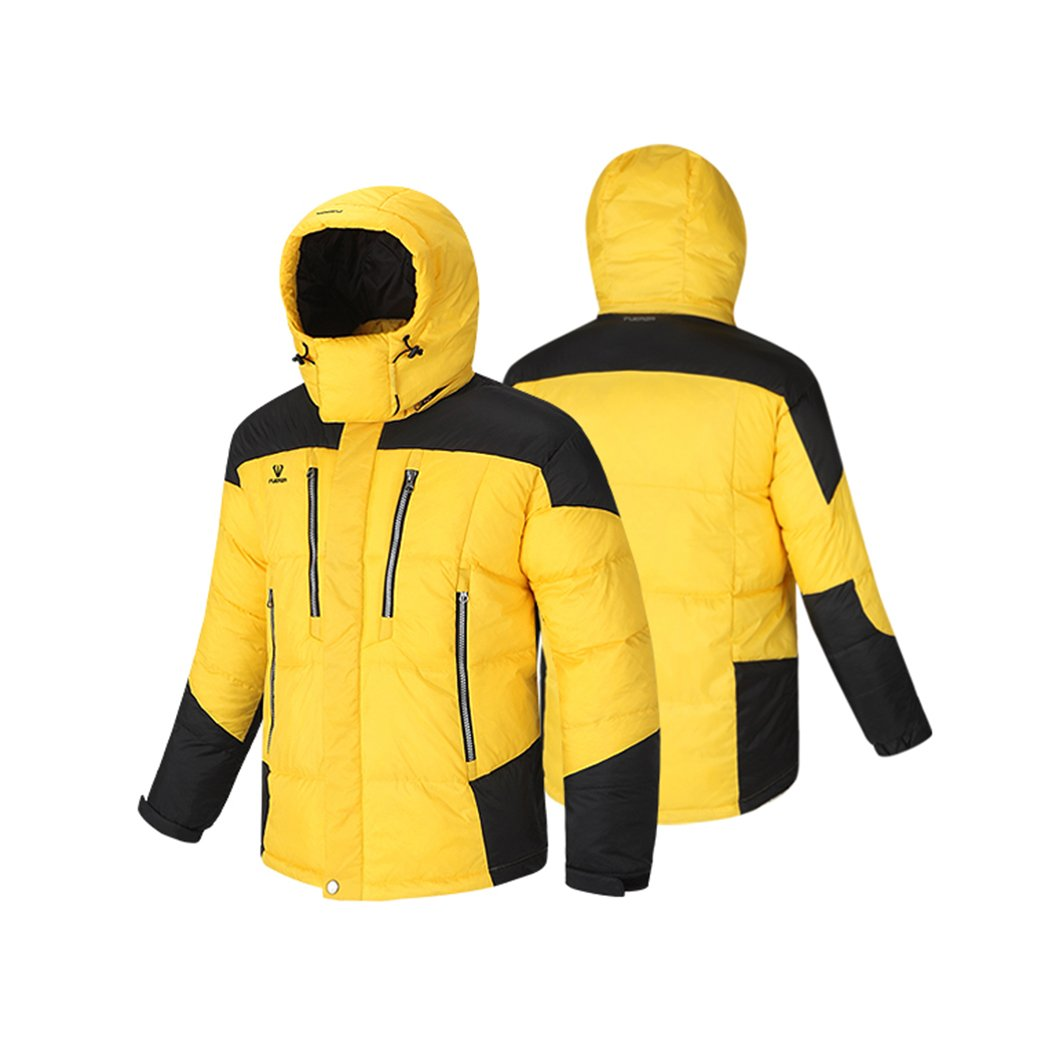 Fuerza Mens Winter Down Wellon Hooded Dynamic Parka Jacket - Yellow
