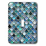 3dRose lsp_272862_1 Multicolor Trend Blue Luxury Elegant Mermaid Scales Glitter Toggle Switch, Mixed