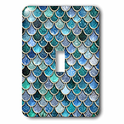 3dRose lsp_272862_1 Multicolor Trend Blue Luxury Elegant Mermaid Scales Glitter Toggle Switch, Mixed by 3dRose