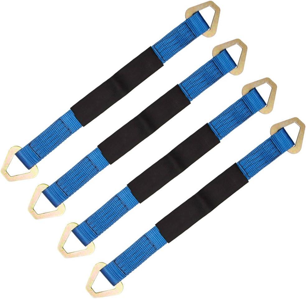 hasta 5,4 toneladas color azul Correa de remolque resistente con funda protectora y grilletes correas de remolque para coche cami/ón 4x4 todoterreno 4 correas de amarre de 2 x 24 pulgadas