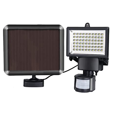 60LED foco Solar PIR sensor de movimiento de seguridad LED foco para exteriores