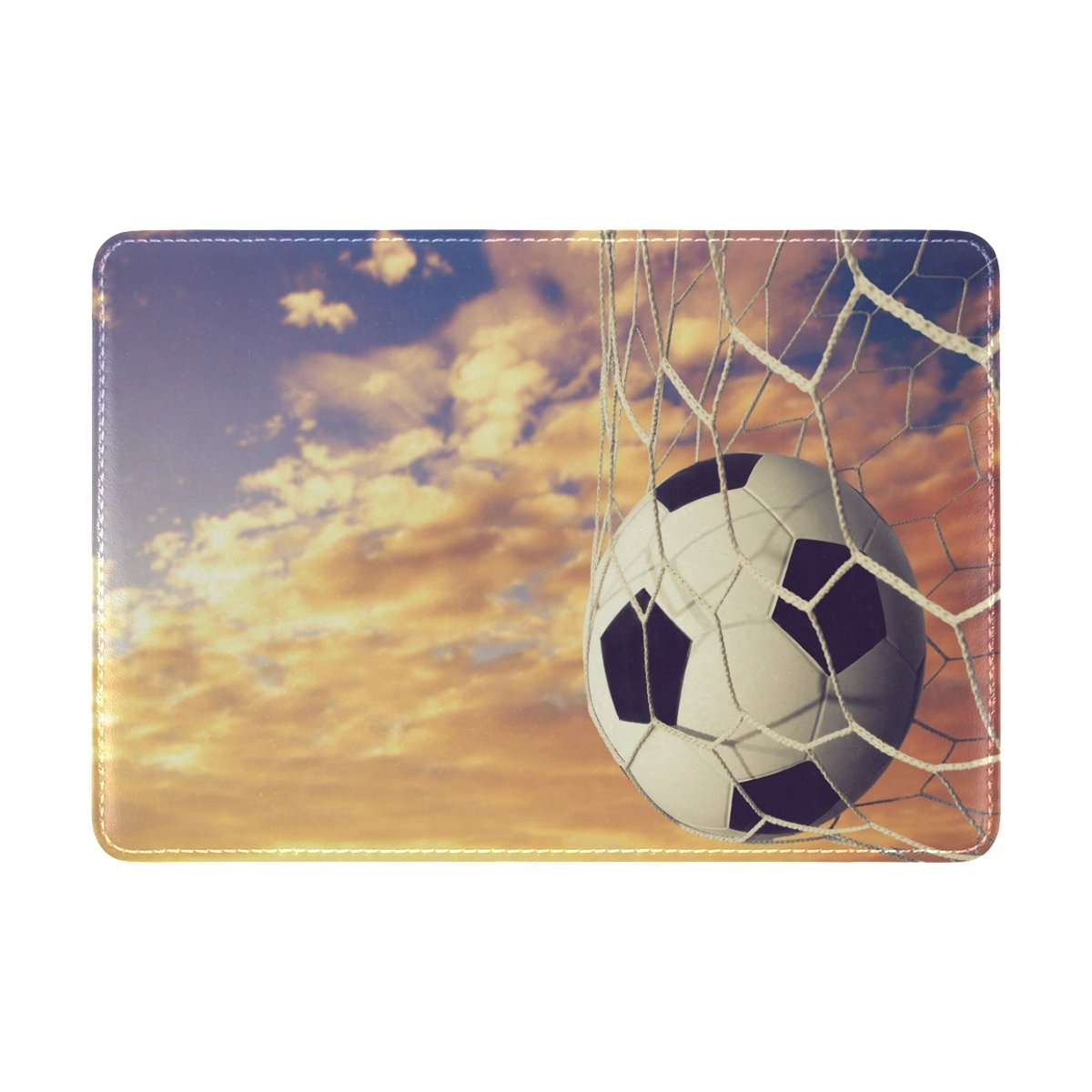 ALAZA Soccer Ball Sunset PU Leather Passport Holder Cover Case Travel One Pocket