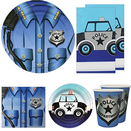 Blue Orchards Police Deluxe Party Packs (70 Pieces for 16 Guests!), Police Party Supplies, Police Car Birthday -