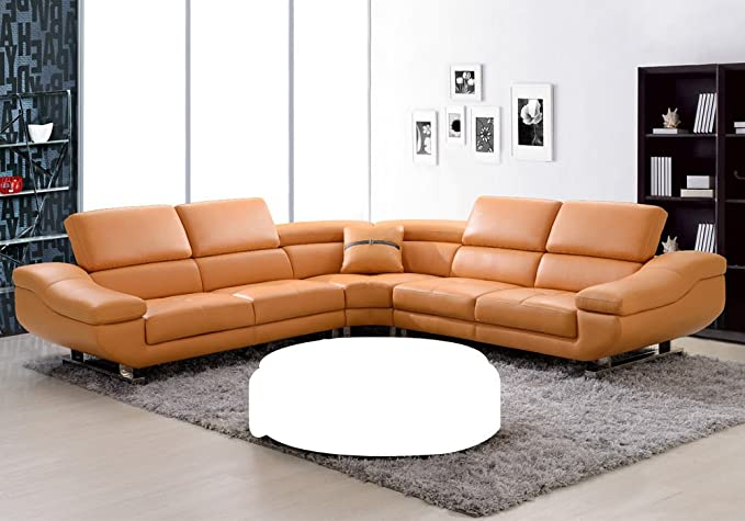 Amazon.com: 1PerfectChoice Contemporary Curved Sectional Sofa Orange ...