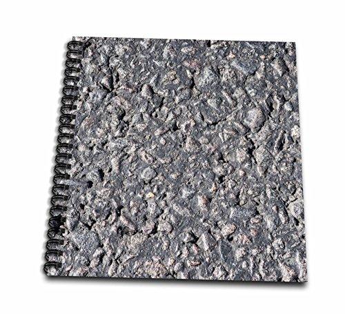 3dRose Alexis Photography - Texture - Dark grey asphalt texture. Coal tar and pebbles - Drawing Book 8 x 8 inch (db_270926_1)