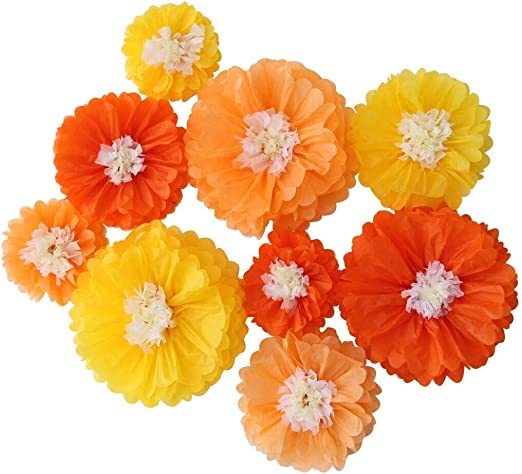 Amazon Com Mybbshower Orange Ombre Paper Flowers Decoration For