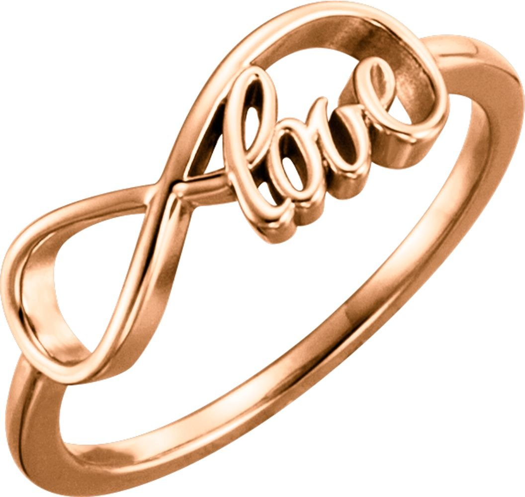 Infinity Ring With Love in 14K Rose Gold (Size 6)
