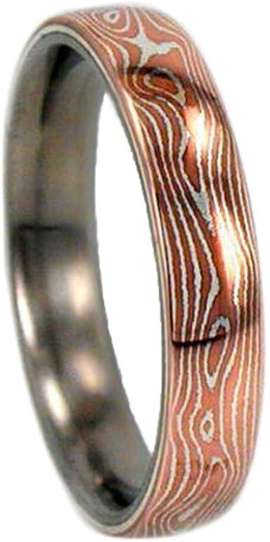 銅とシルバー木目金6mm快適フィットチタンバンド