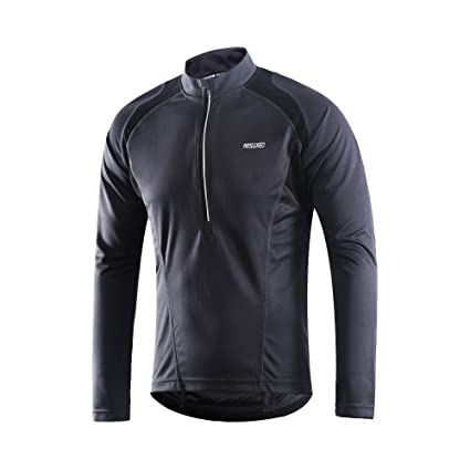 4bae77d15 ARSUXEO Men s Half Zipper Cycling Jerseys Long Sleeves MTB Bike Shirts 6031  Gray Size Small