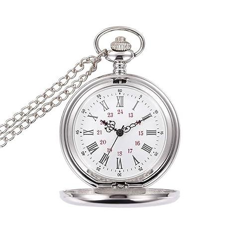 Collar Regalo Del Reloj De Aleación Redonda Del Cuarzo Del Dial De Bolsillo De Plata Antigua