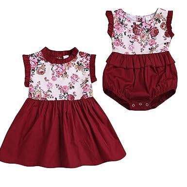 34efe2a262258 Puseky Robe à Volants sans Manches Florale pour bébés Filles ou Tenue de  Combinaison de Barboteuse