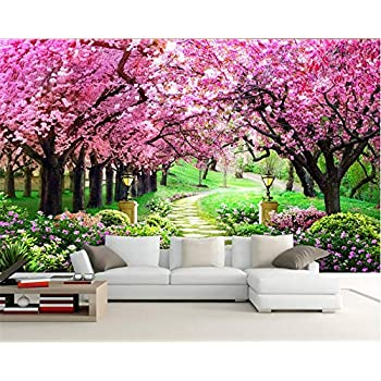 Image of Ai Ya-bihua 3D Wallpaper Sakura Grove Wood Garden Path Landscape Painting Living Room Bedroom TV Background Wall Papel de Parede Home and Kitchen