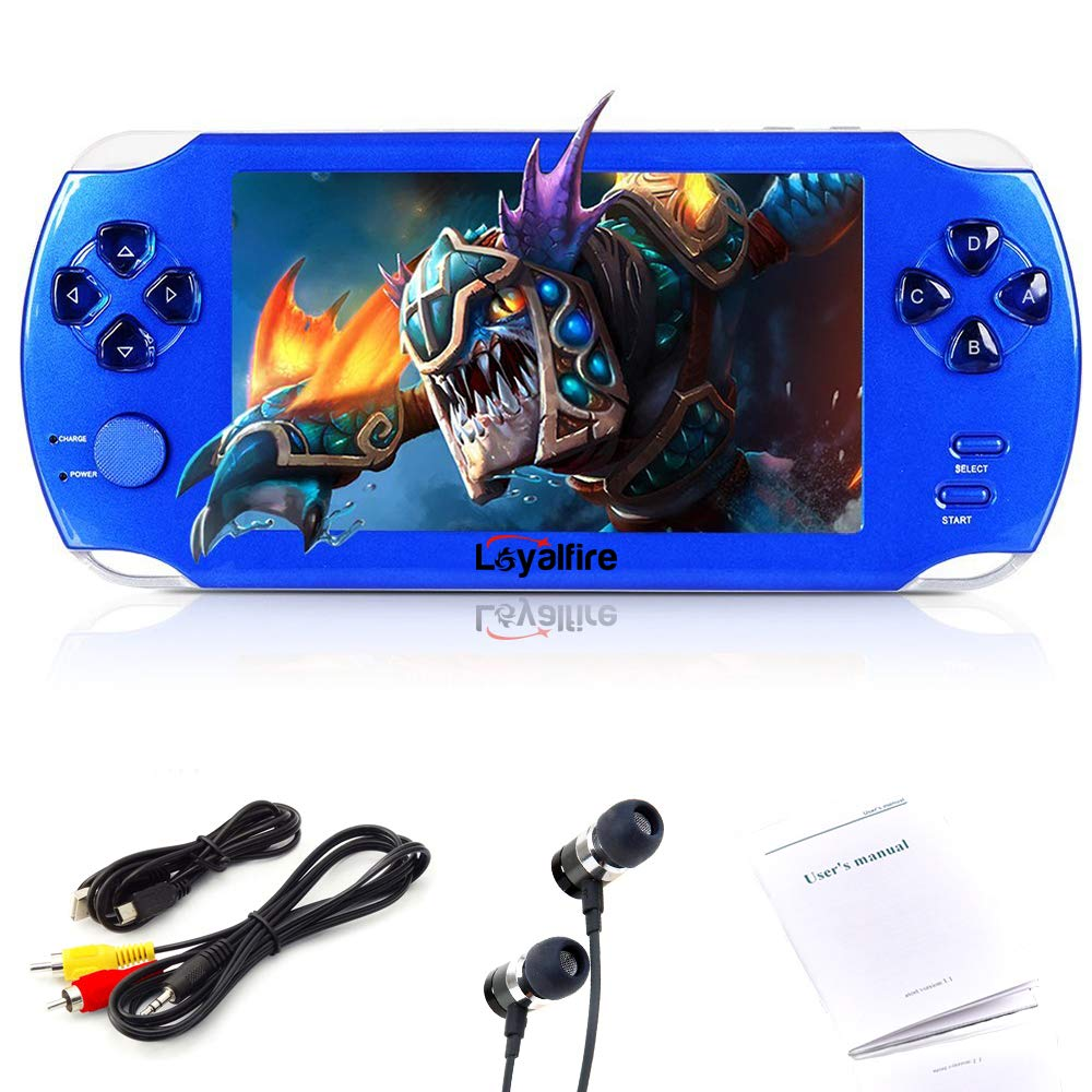 Loyalfire Handheld Game Console, Game Player 5'' 64-bit LED Lights 8GB System Portable Video Games, Supports Multiple File Formats Birthday Kids Children (Blue)