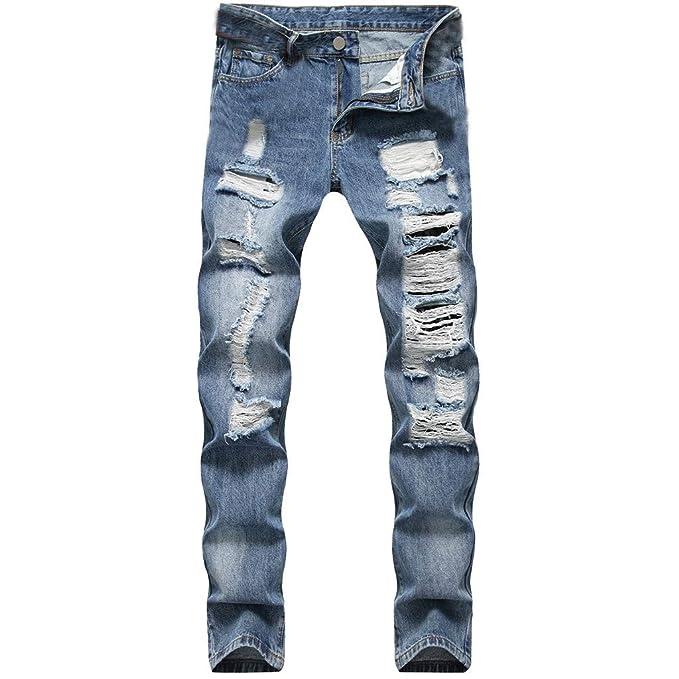 Vectry Pantalones Hombre Tramo Hole Casual Slim Pantalones de ...