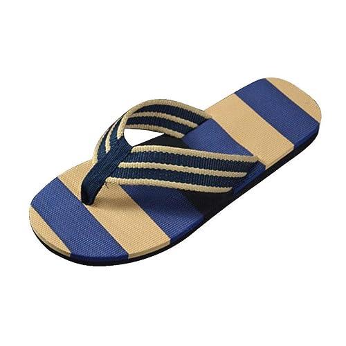 material seleccionado disfruta el precio más bajo último descuento QinMM Sandalias y Chanclas a Rayas Verano para Hombre, Zapatos de Playa de  Baño