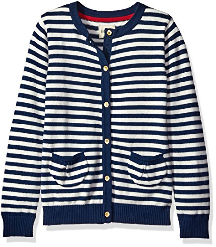 Ribbon Trim Sweater (Scout + Ro Big Girls' Button-Front Cardigan Sweater, Whisper White, 12)