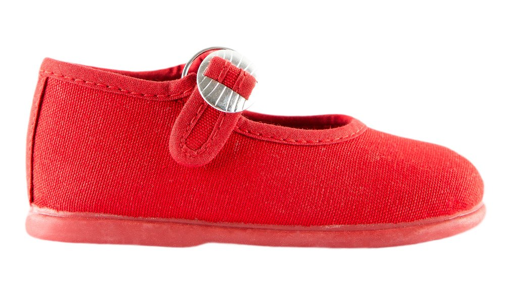 Namoo Kids Canvas Mary Jane, Cotton and Rubber Sole, Baby/Toddler/Kid Shoe (Red)