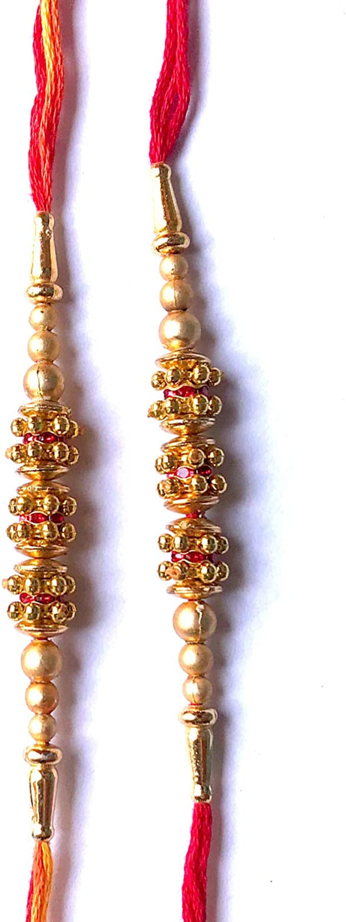 Set of Two Rakhi Bracelets in Individual Designs Handmade Free Size Rakhi//Rakhri//Friendship Bracelet Thread with Beautiful Multi-Coloured Beads in Traditional Indian Colours Design 6621