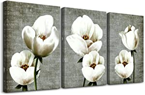 Living Room Wall Decor Canvas Wall Art for Bedroom Bathroom wall painting Artwork gray vintage style White flowers Abstract pictures wall decorations for kitchen 3 Panels Modern office family decor