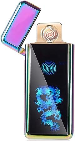 FLFIRAMER USB Electronic Lighter Tungsten Turbo Spiral Windproof for Cigarette Smoking (Purple Dragon)