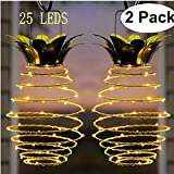 Garden Solar Lights, Pineapple Solar Path Lights, IP45 Waterproof 25 LED Outdoor Decor Path Lights Hanging Fairy Light, Warm White for Patio Path Home Décor Lighting 2 Pack (Pineapple) For Sale
