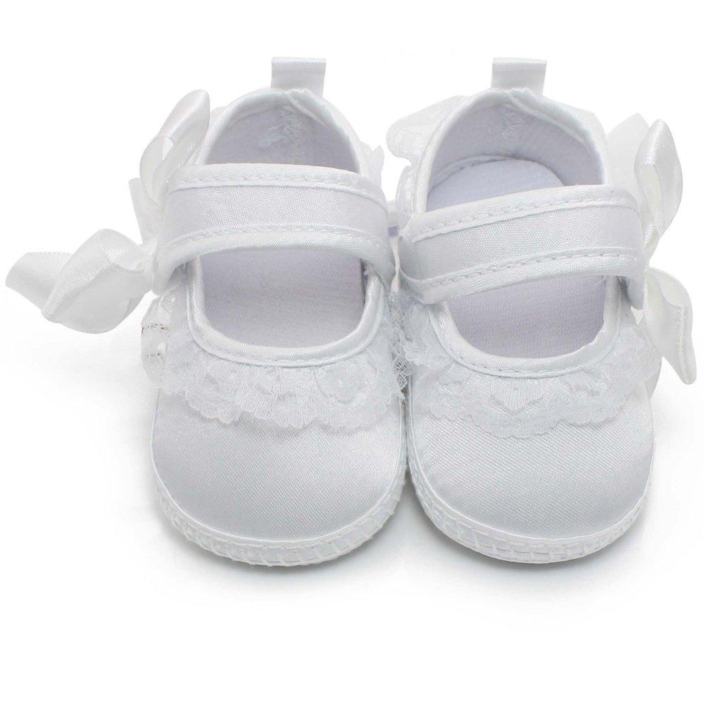 DELEBAO Chausson B/éb/é Fille Bapt/ême Chaussure B/éb/é Blanc Souple Chaussures Premiers Pas