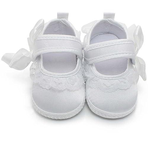 purchase cheap 532c3 70f31 OOSAKU Scarpe da Bambina in Pizzo Infantile da Neonato Scarpe da Battesimo  Bianche Pantofole da Neonato Antiscivolo