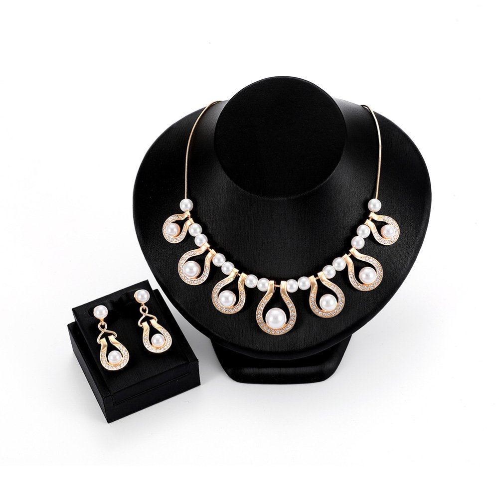 STI-JEWELS Bridal Pearl Teardrop Statement Jewelry Set Indian Statement Earrings Necklace for Women Gold Plated