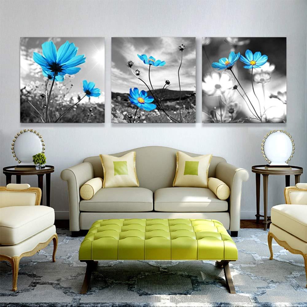 Color : con un Marco, Tama/ño : 30x30cmx3 LJFYXZ Decoraci/ón De Arte De Pared Imprime Flor Azul decoraci/ón de Pared Lienzo de Pintura Foto HD Dormitorio Sala de Estar Mural Conjunto de 3 Piezas
