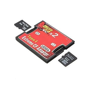Sannysis 2 puertos SD micro SDHC TF Para escribir Adaptador de lector de tarjeta CF Compact Flash