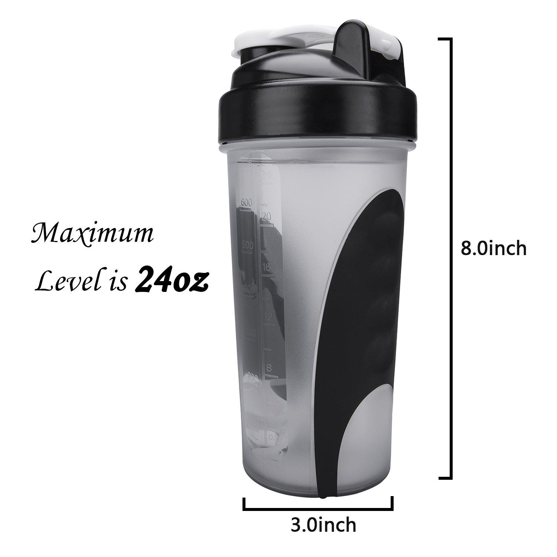BOTTLED JOY Wasserflasche, Protein-Shaker-Flasche mit Mix-Ball, BPA-frei, auslaufsicher, Shaker-Becher für Fitness-Sport Fitness-Sport für und Reisen, Rutschfeste Trinkflasche, 650 ml 3b1220