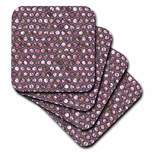 Art Illustration - Image Of Pattern Of Shimmering Pink Pearl Like Circles - set of 4 Ceramic Tile Coasters (cst_276266_3) ()