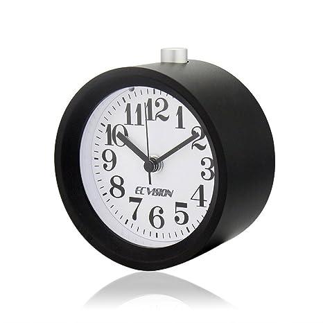 ECVISION Creative Small Round Aluminium Silent Table Snooze Beech Alarm  Clock With Nightlight (Black)