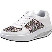 Zapatillas Deportivas de Mujer Gimnasio con Lentejuelas Cuña Zapatos para Caminar Aptitud Plataforma Sneakers con…