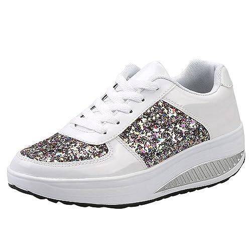 DEELIN Calzado Deportivo para Mujer Moda Mujer Damas CuñAs Zapatillas De Deporte Lentejuelas Zapatos Shake Moda Chicas Zapatos Deportivos: Amazon.es: ...