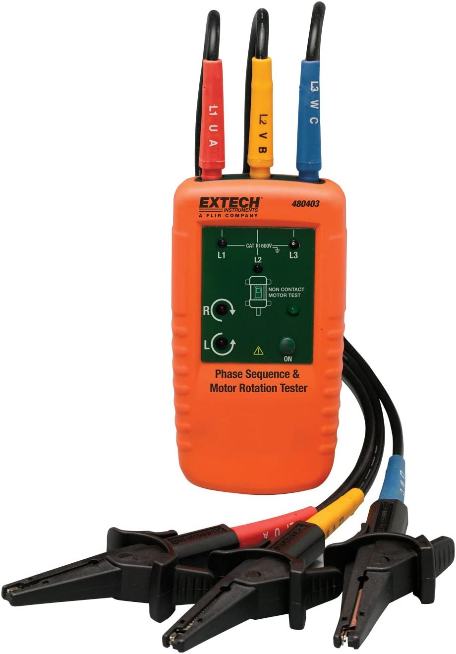 Extech 480403 Motor Rotation and 3-Phase Tester, Multicolor