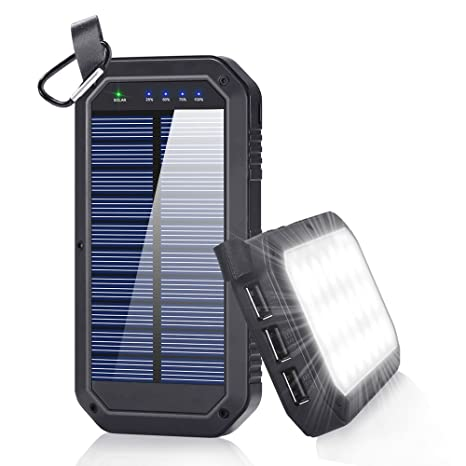 Solar Charger, 8000mAh BESWILL Solar Power Bank Phone Charger with 3 USB Output Ports and 21 LED Lights Portable Panel External Battery for Camping ...