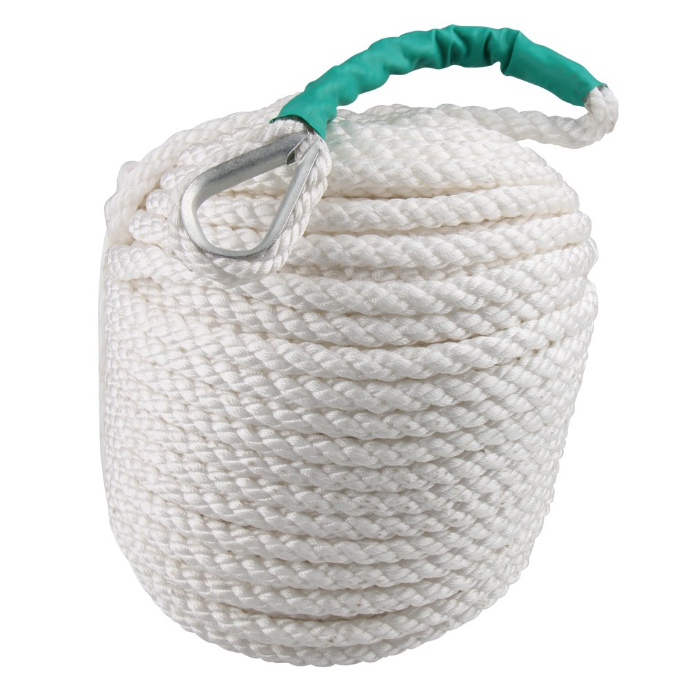 Bang4buck Twisted Dockline, 1/2 inch x200 Feet Three Strand Nylon Braided Boat Lines Dockline with Thimble 5850 LB Breaking Strain- Super Strong (1/2 inch 200 Feet)