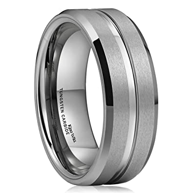 King Will CLASSIC 8mm High Polish Matte Finish Mens Tungsten Ring Wedding Band Comfort Fit
