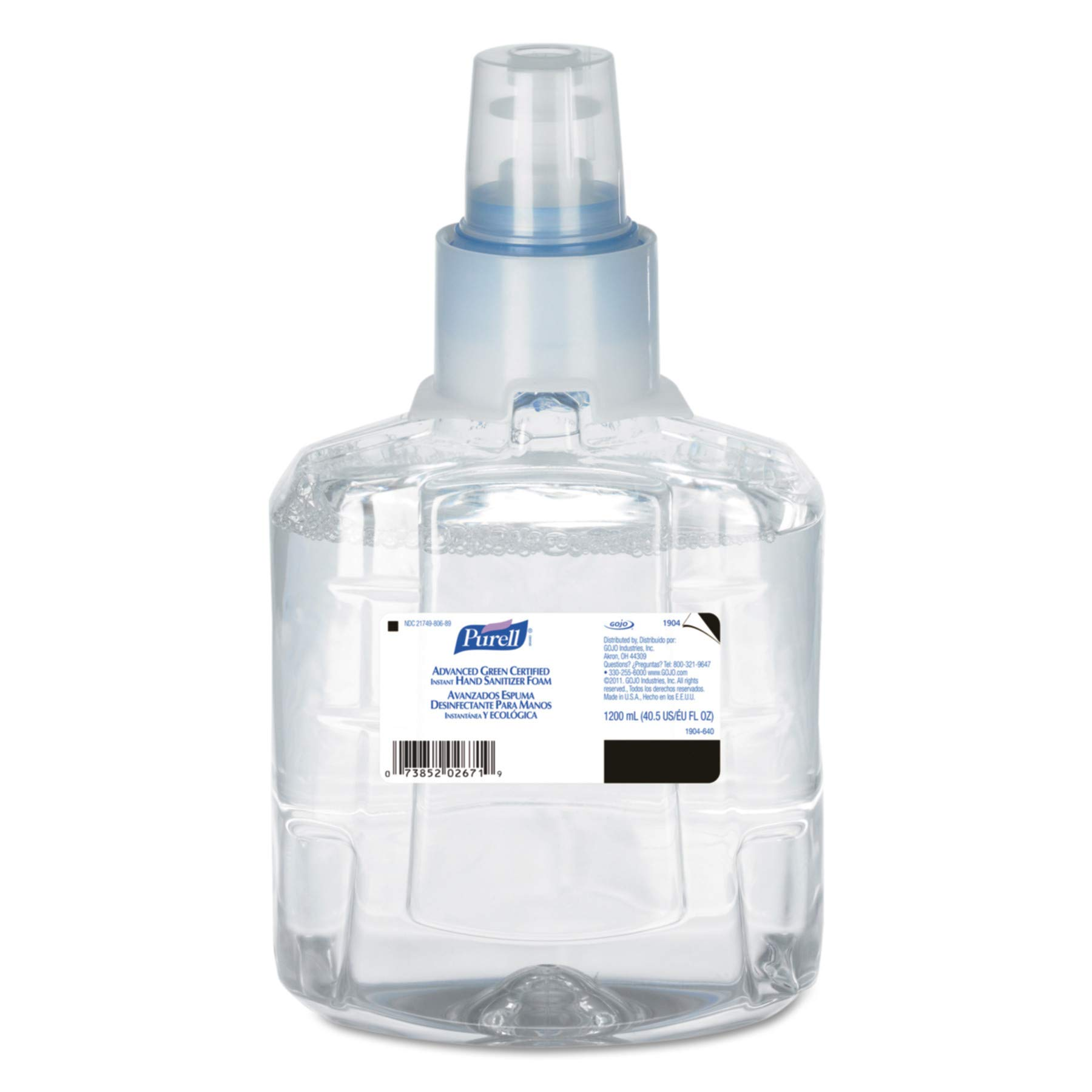 PURELL 190402CT Advanced Green Certified Hand Sanitizer Refill, 1200mL, FragFree (Case of 2)