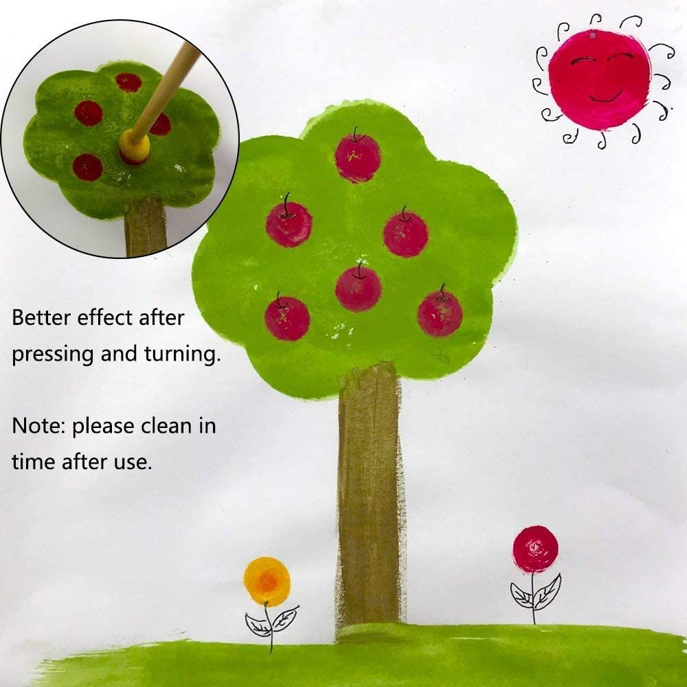 JMAF 40-Pieces Assorted Size Round Sponges Brush Set Paint Tools for Kids