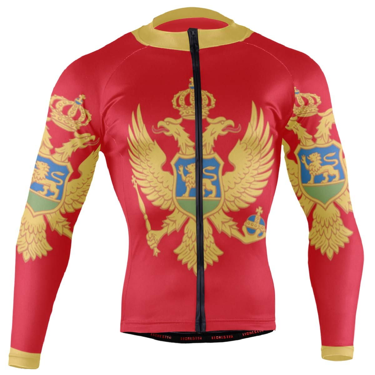 CHINEIN Men's Cycling Jersey Long Sleeve with 3 Rear Pockets Shirt Montenegro Flag by CHINEIN